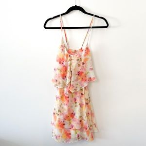 GUESS Criss Cross Back Flowy Tiered Floral Dress